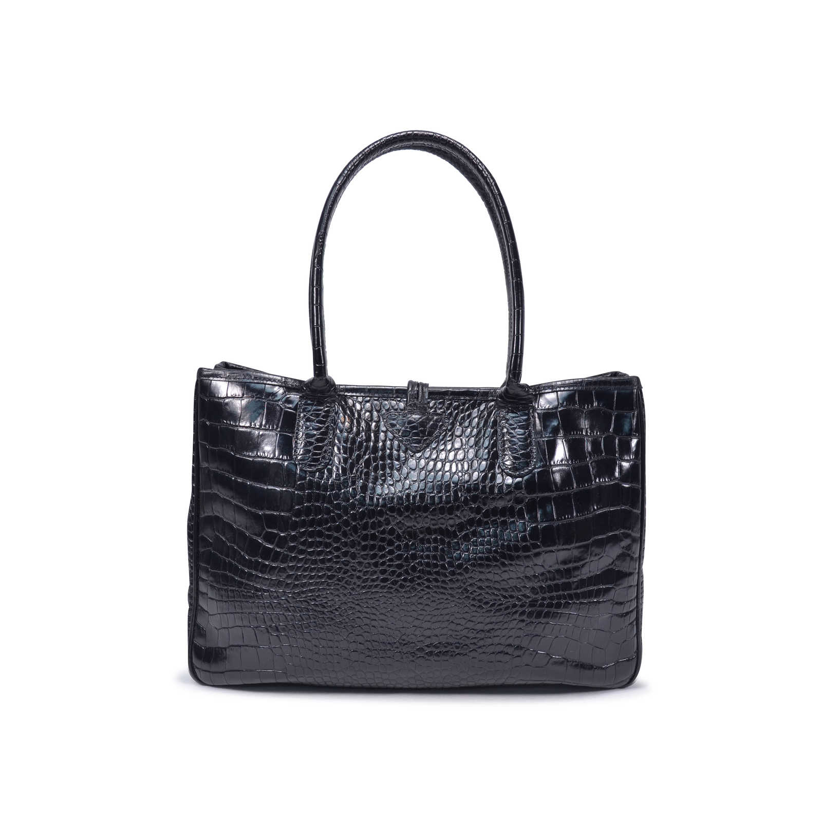 cd3fdf79dfba ... Authentic Second Hand Longchamp Roseau Croco Tote (PSS-336-00020) -  Thumbnail ...