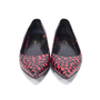 Authentic Second Hand Saint Laurent Seta Small Hearts Pointed Flats (PSS-336-00005) - Thumbnail 0