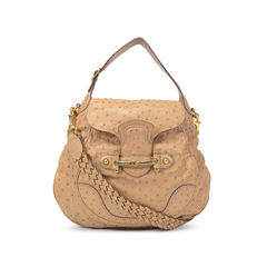 Exotic XXL Gucci Ostrich Skin Horsebit Shoulder Bag