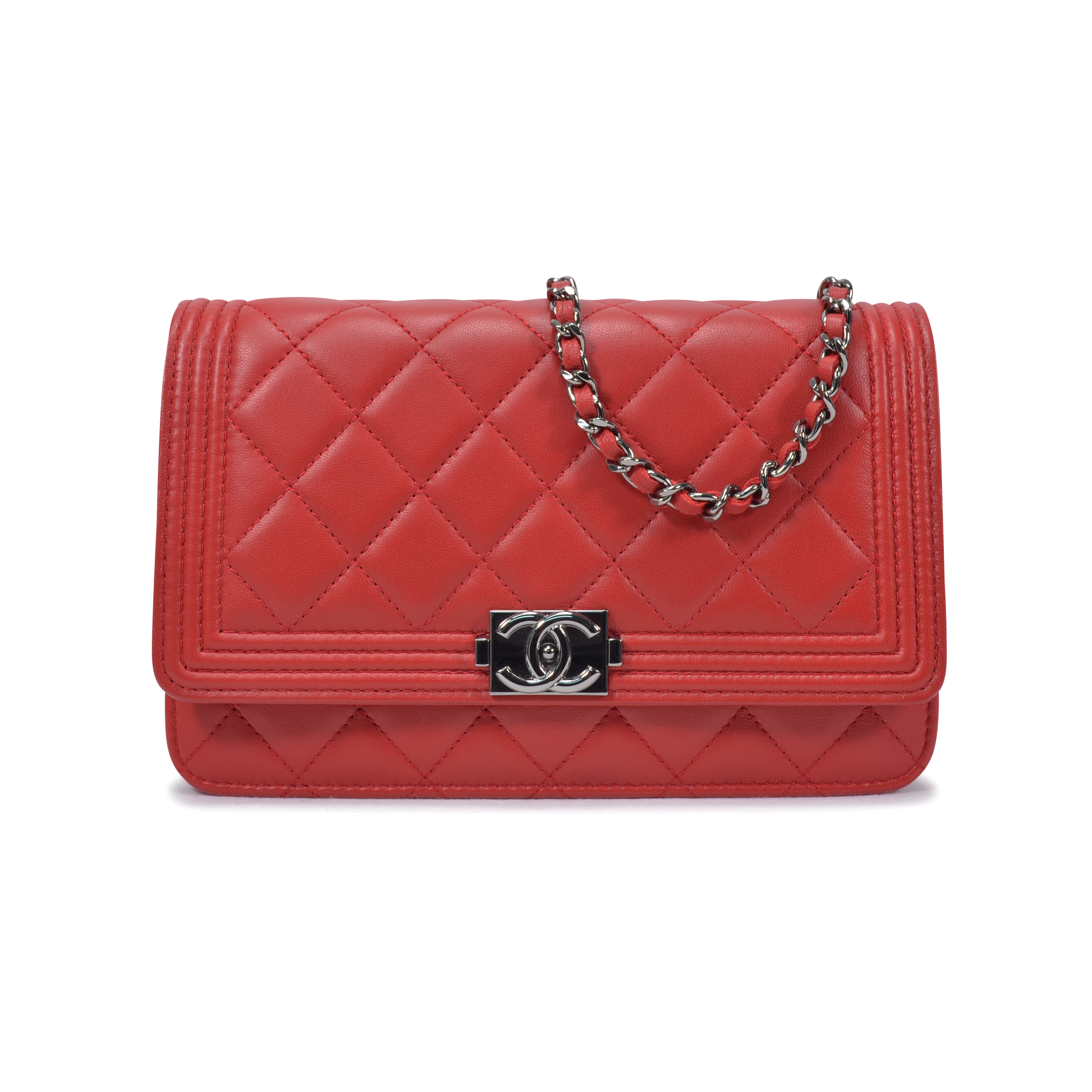 second hand chanel boy wallet on chain red the fifth collection. Black Bedroom Furniture Sets. Home Design Ideas