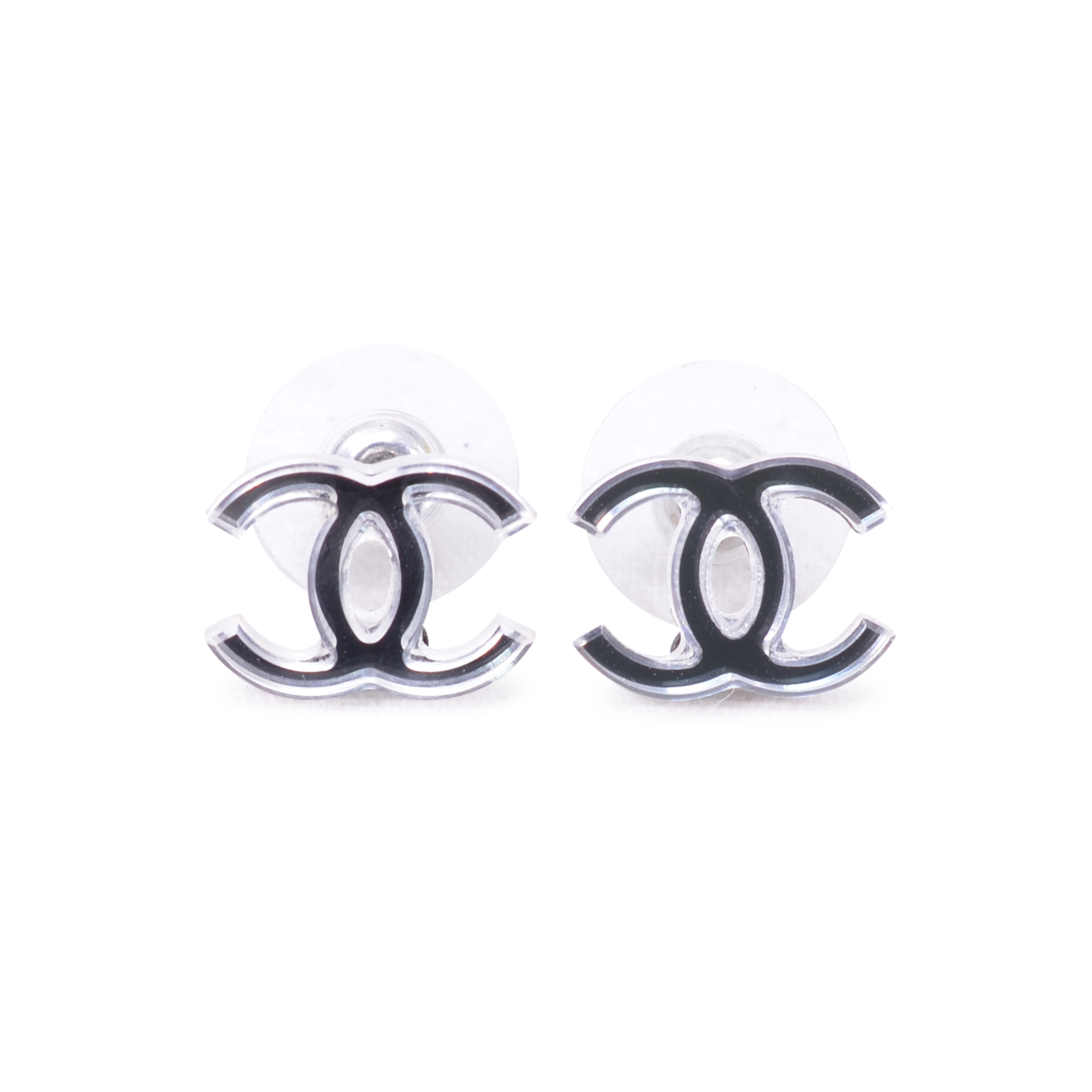 Second Hand Chanel Reflective Logo Earrings The Fifth Collection