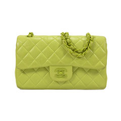 Chartreuse Classic Double Flap Bag