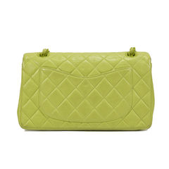 Chanel chartreuse classic double flap bag green 2?1494490213