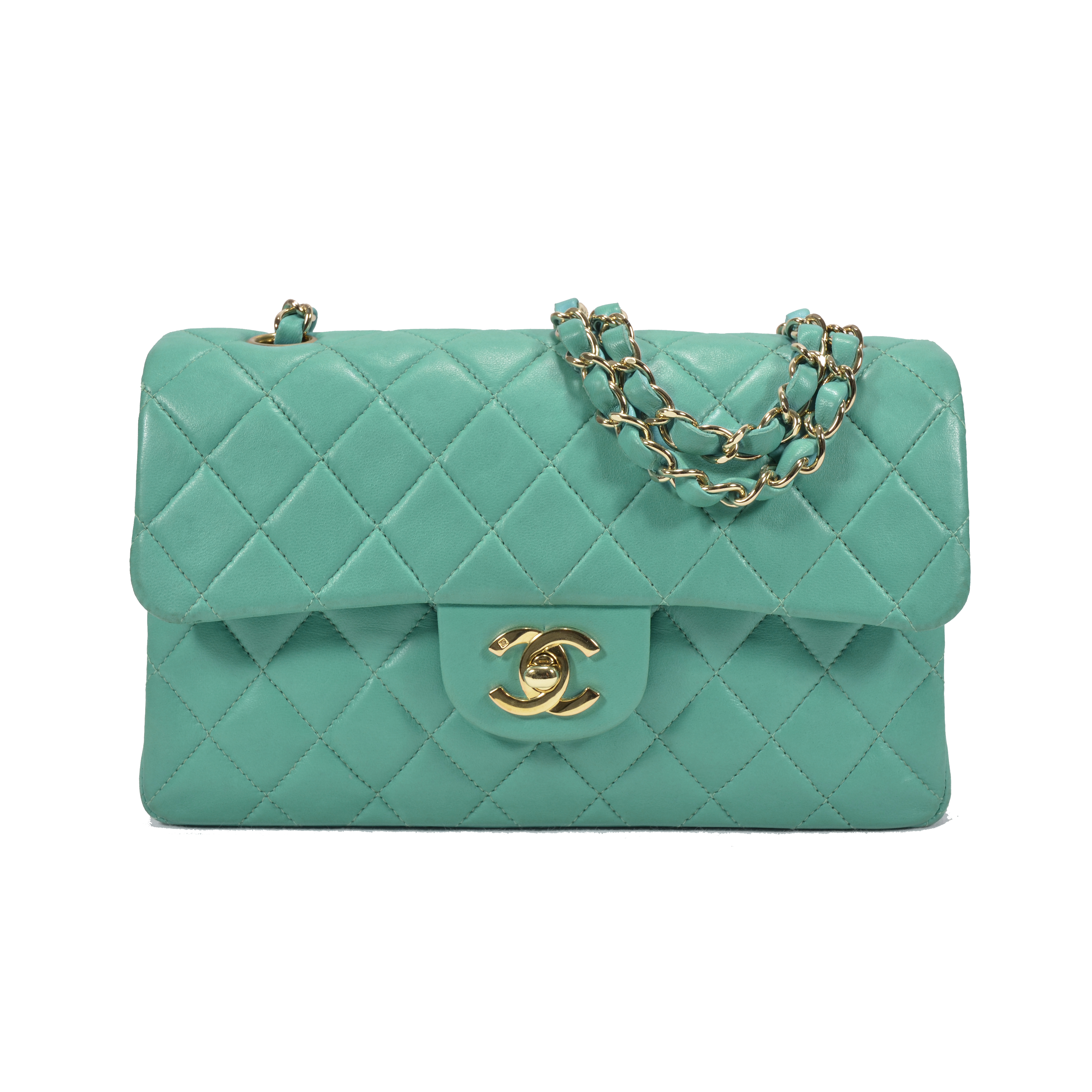 80cfd883da21 Authentic Second Hand Chanel Turquoise Classic Double Flap Bag  (PSS-051-00145)