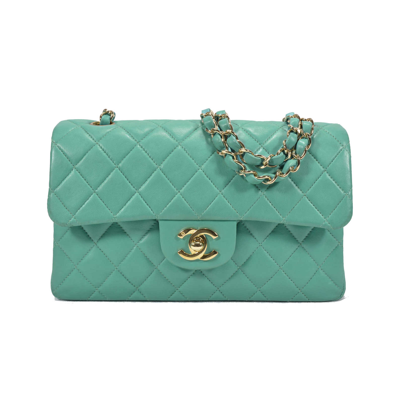 dd0a55d89cc9 Authentic Second Hand Chanel Turquoise Classic Double Flap Bag (PSS-051-00145)  ...