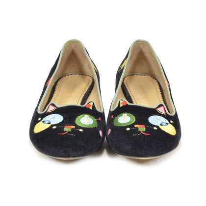 Charlotte Olympia Abstract Kitty Embroidered Velvet Slippers