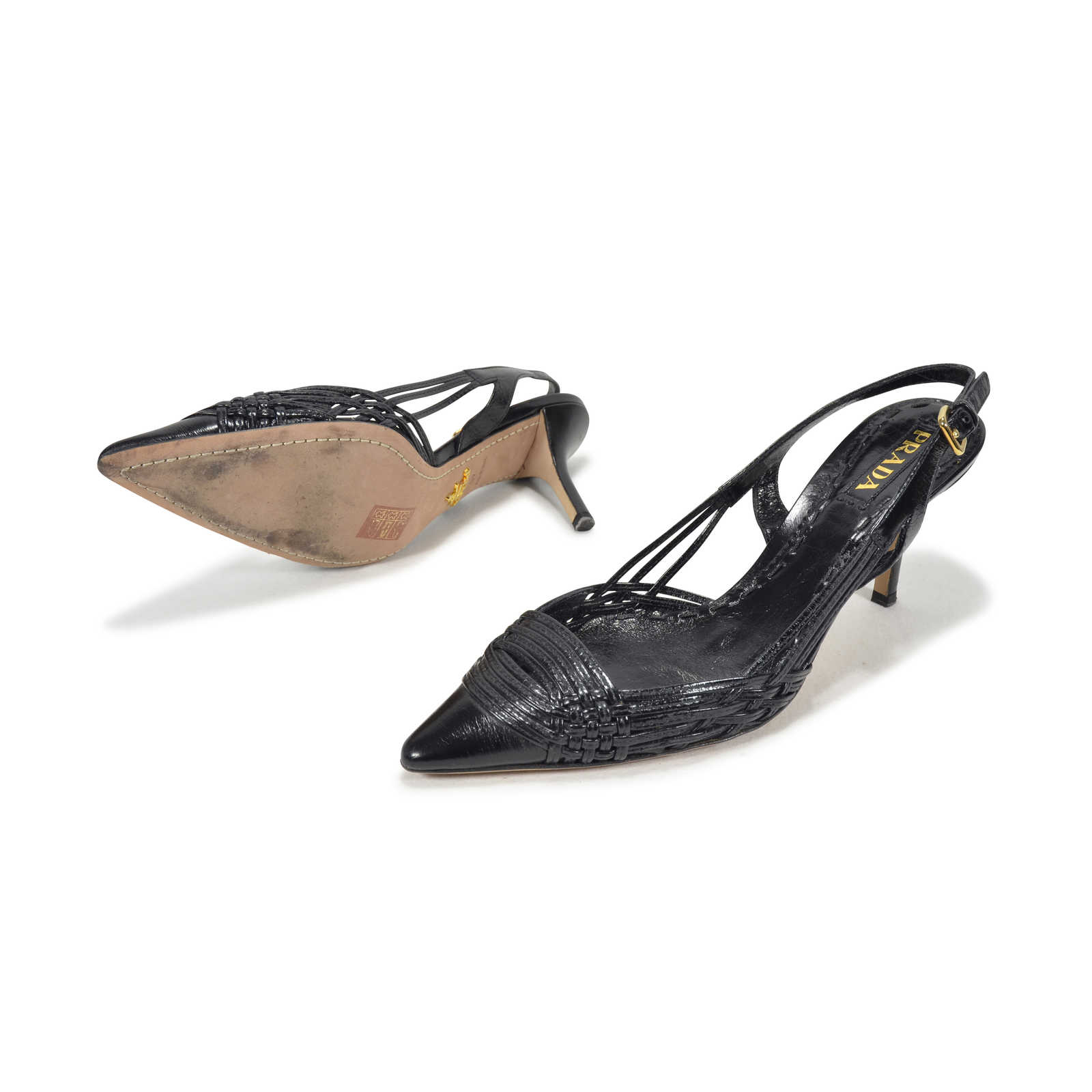 Prada Woven Slingback Sandals Clearance Enjoy OEExEhXFr