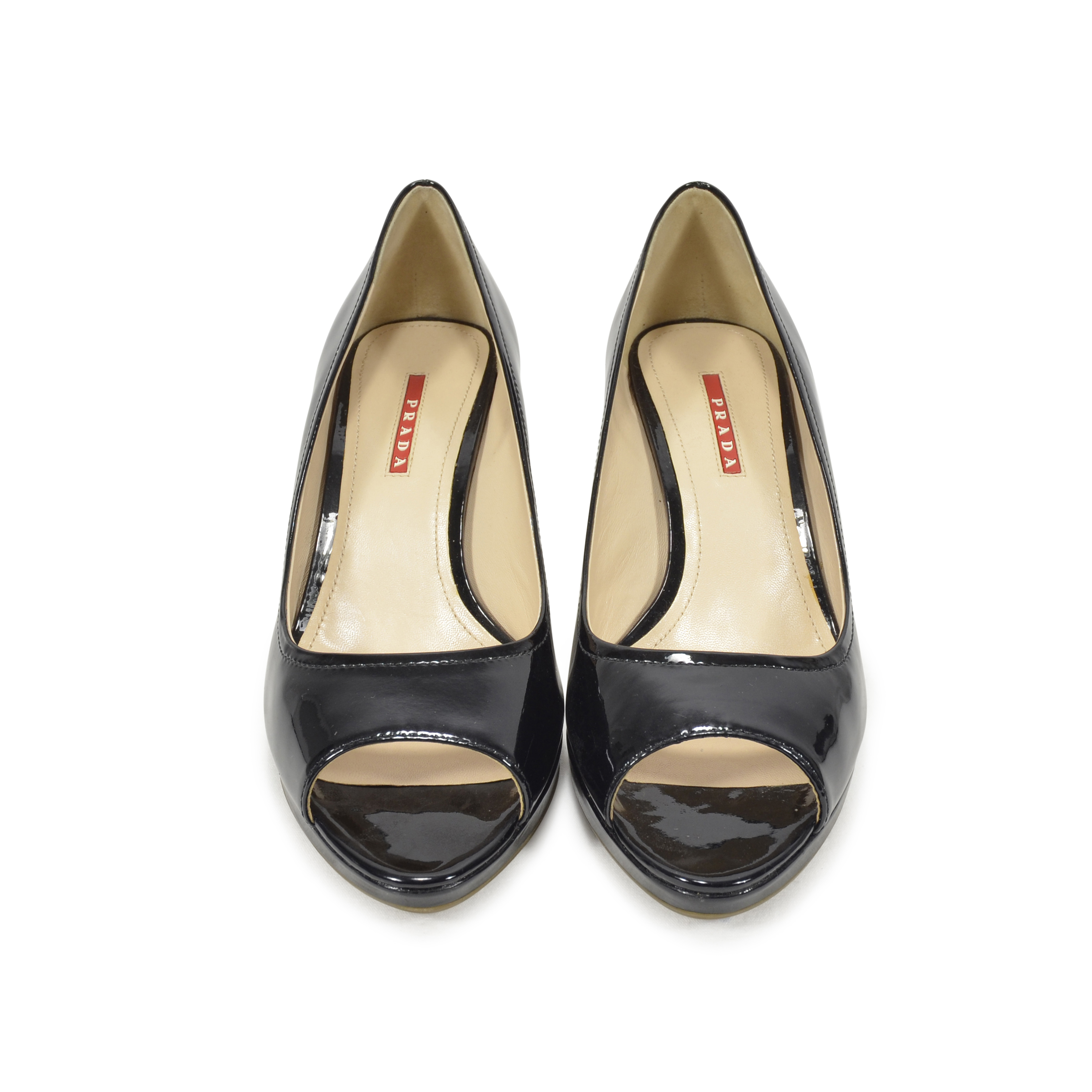 71e4e11c33978 Authentic Second Hand Prada Peep-Toe Wedge Pumps (PSS-350-00005) - THE  FIFTH COLLECTION