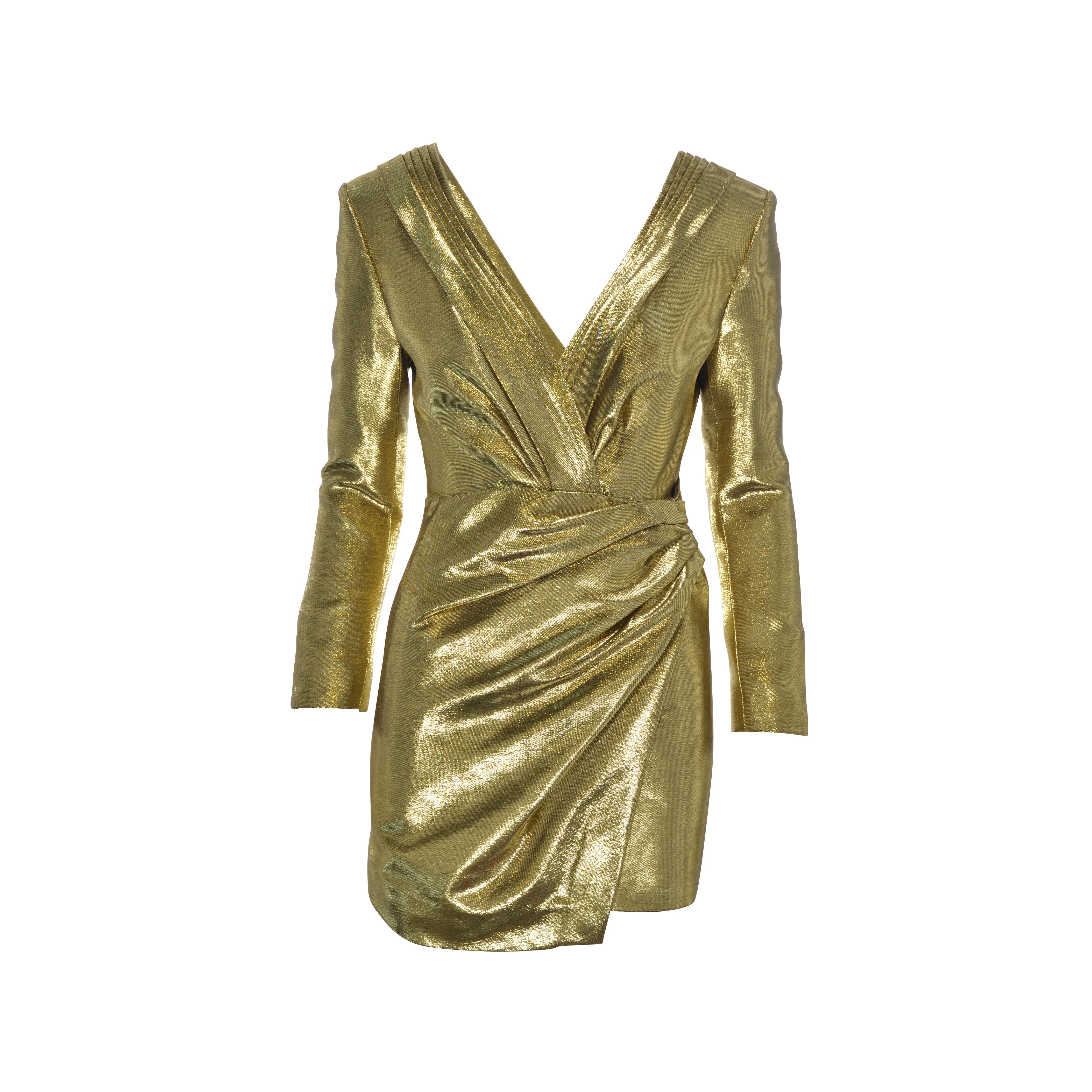 c987650578 Authentic Second Hand Saint Laurent Gold Ruched Lamé Mini Dress  (PSS-128-00034)