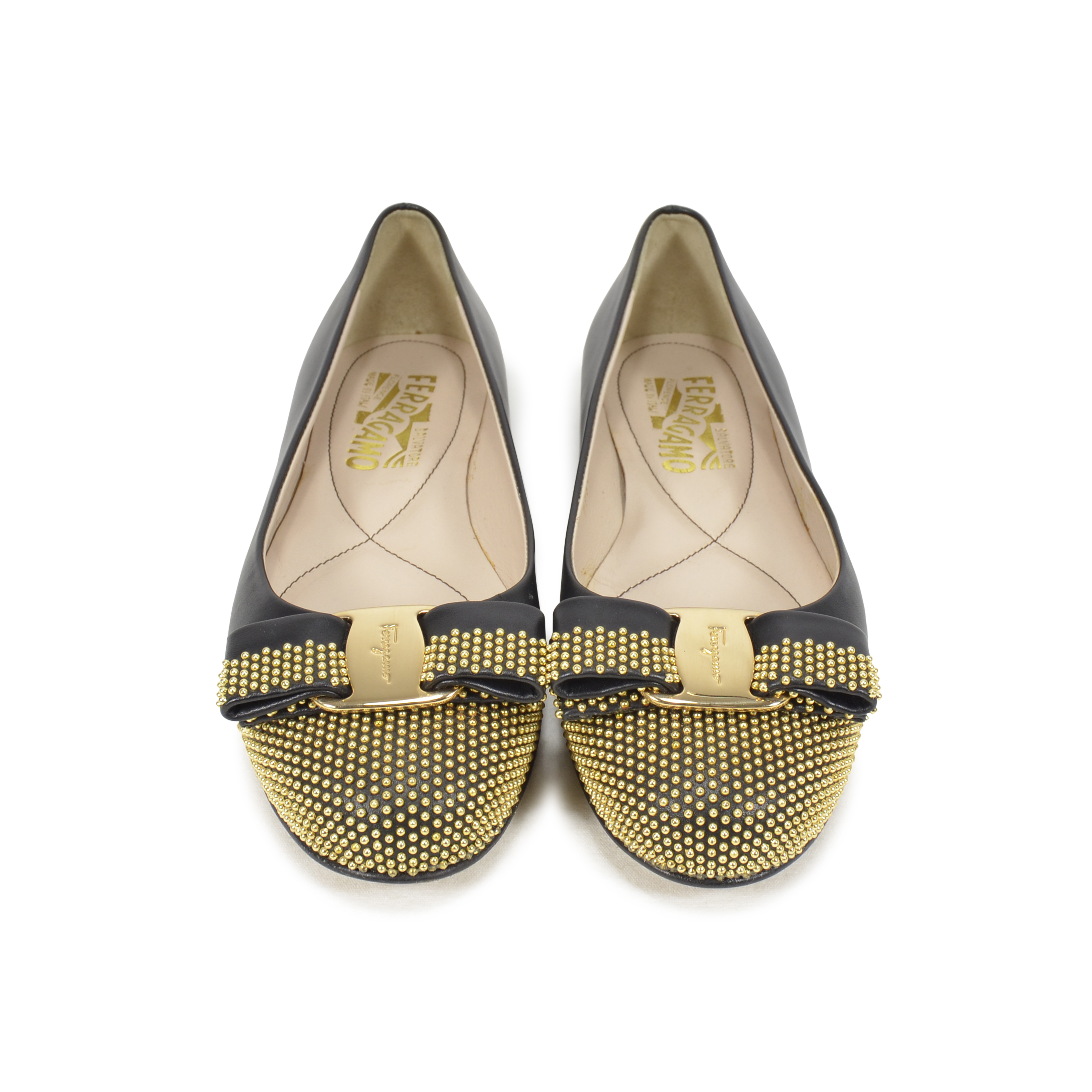 4ee9cb86f Authentic Second Hand Salvatore Ferragamo Varina Studded Ballerinas  (PSS-343-00004) - THE FIFTH COLLECTION