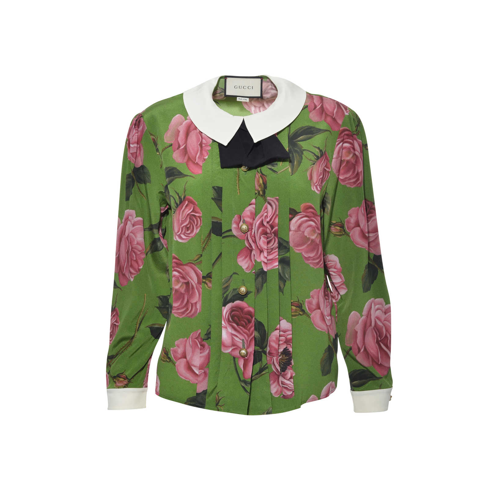 0f23284d74b068 Authentic Second Hand Gucci Floral Silk Shirt with Bow (PSS-051-00168) ...