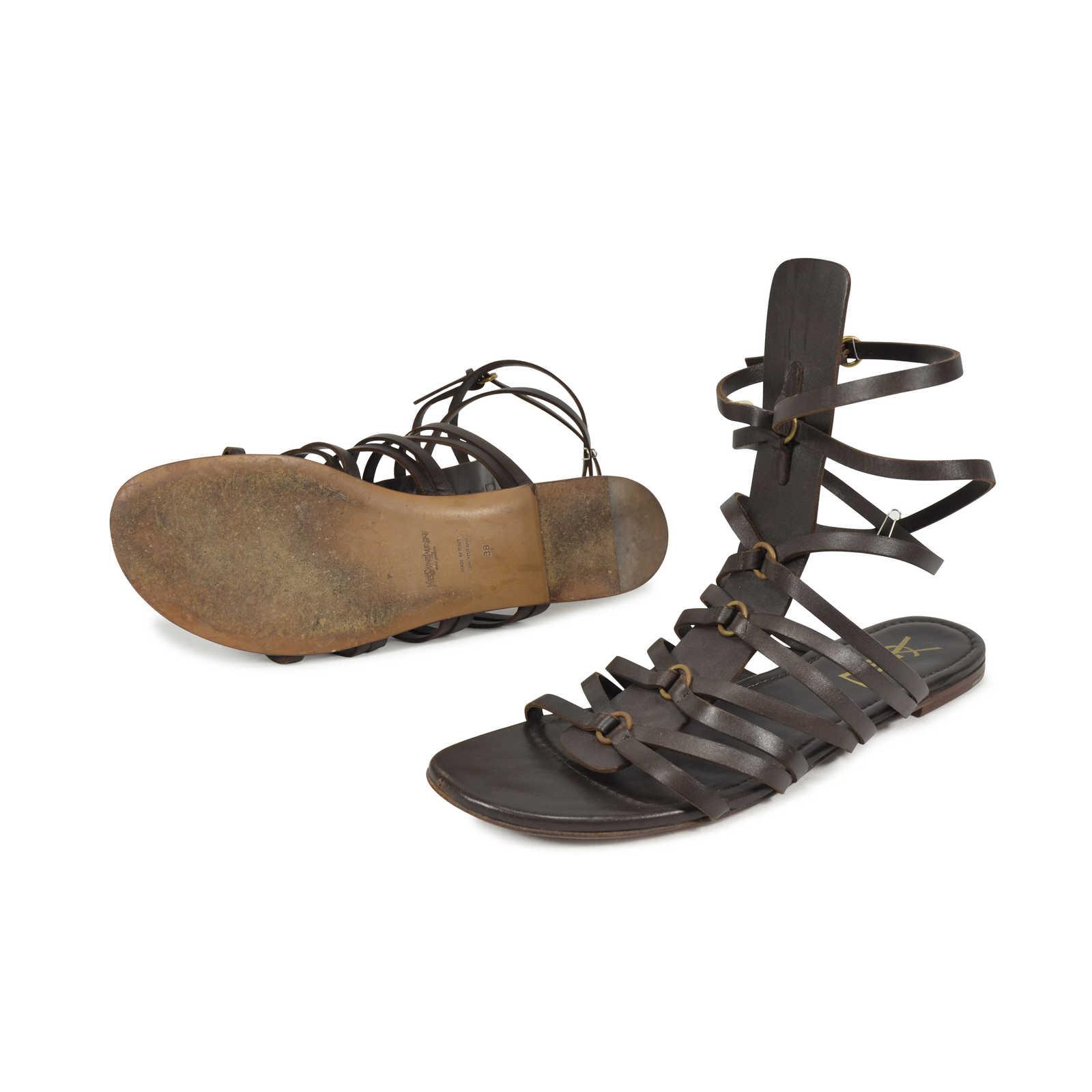 ce7a08365d1 ... Authentic Second Hand Yves Saint Laurent Goya Gladiator Sandals  (PSS-340-00009) ...