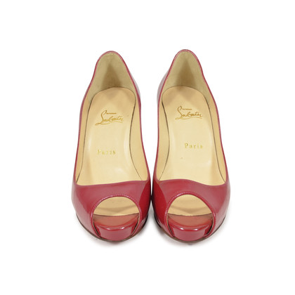 Authentic Second Hand Christian Louboutin Patent Peep Toe Pumps (PSS-340-00016)