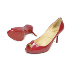 Christian louboutin patent peep toe pumps 2?1496121187