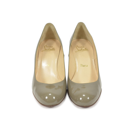 Authentic Second Hand Christian Louboutin Grey Patent Simple Pumps (PSS-340-00018)