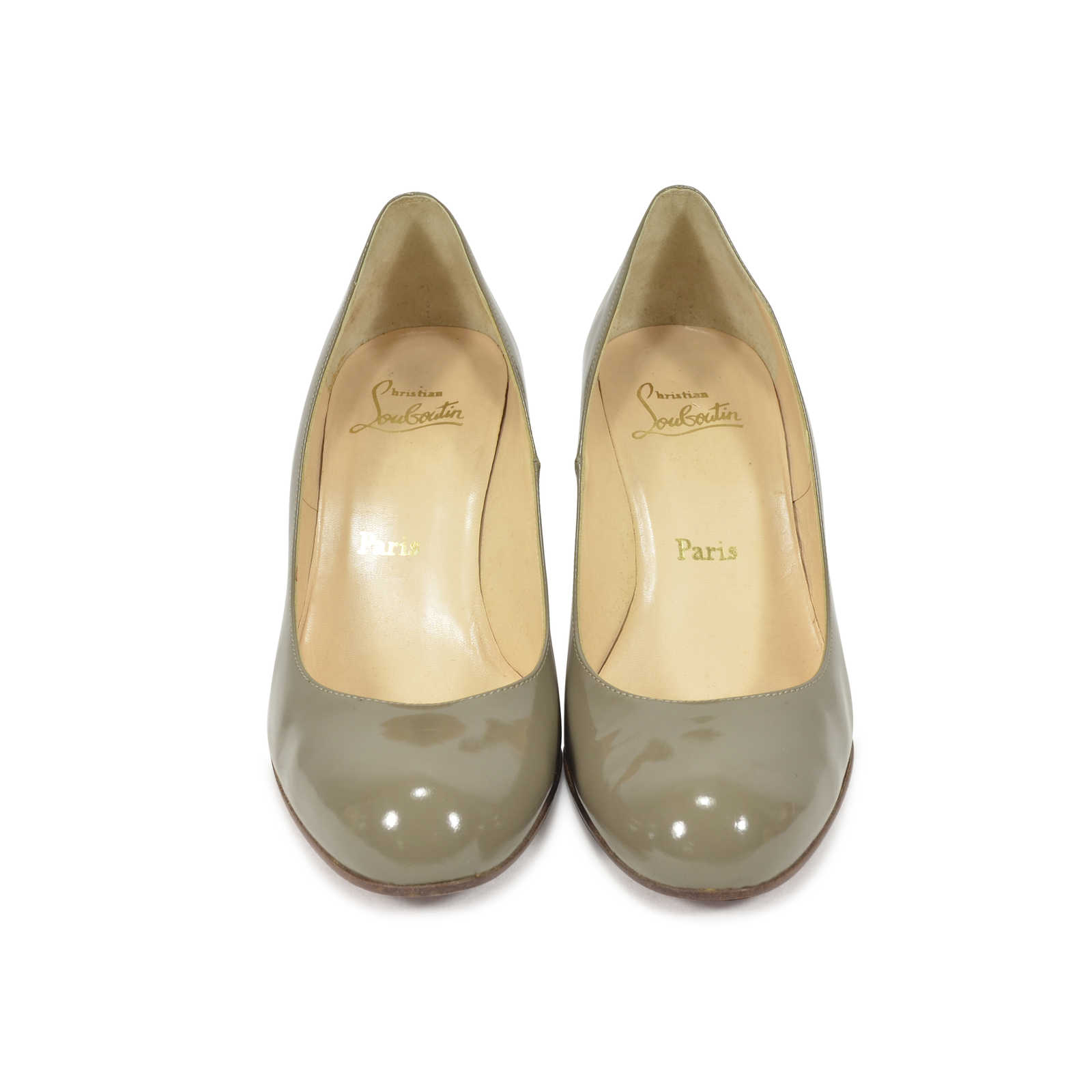 d64a372797ef Authentic Second Hand Christian Louboutin Grey Patent Simple Pumps  (PSS-340-00018) ...