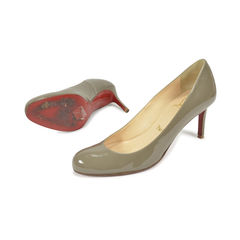 Christian louboutin grey patent simple pumps 2?1496121276