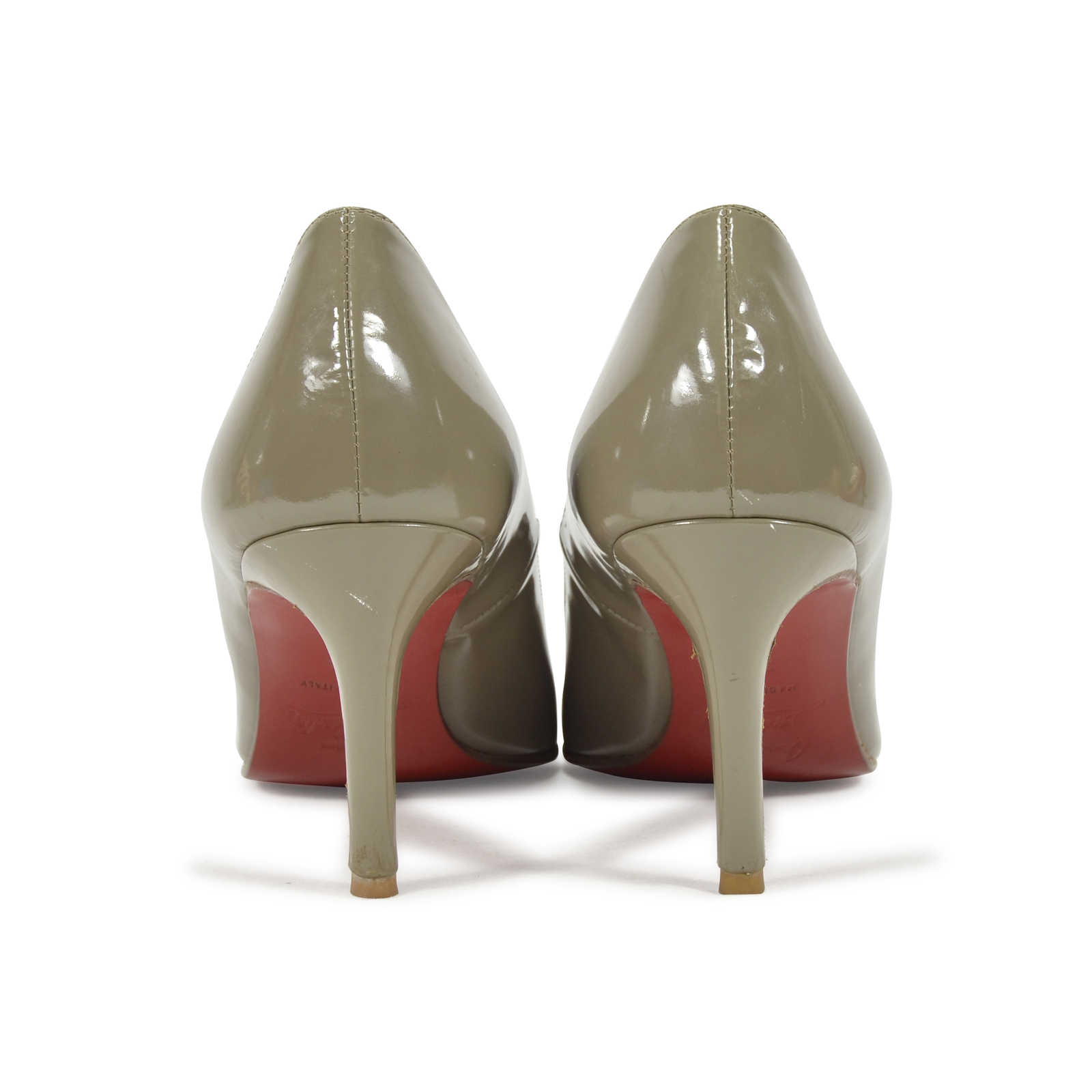 0240329129f4 ... Authentic Second Hand Christian Louboutin Grey Patent Simple Pumps  (PSS-340-00018)