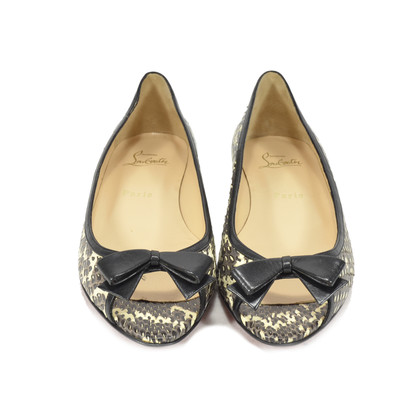 Authentic Second Hand Christian Louboutin Python Peep Toe Flats (PSS-340-00021)