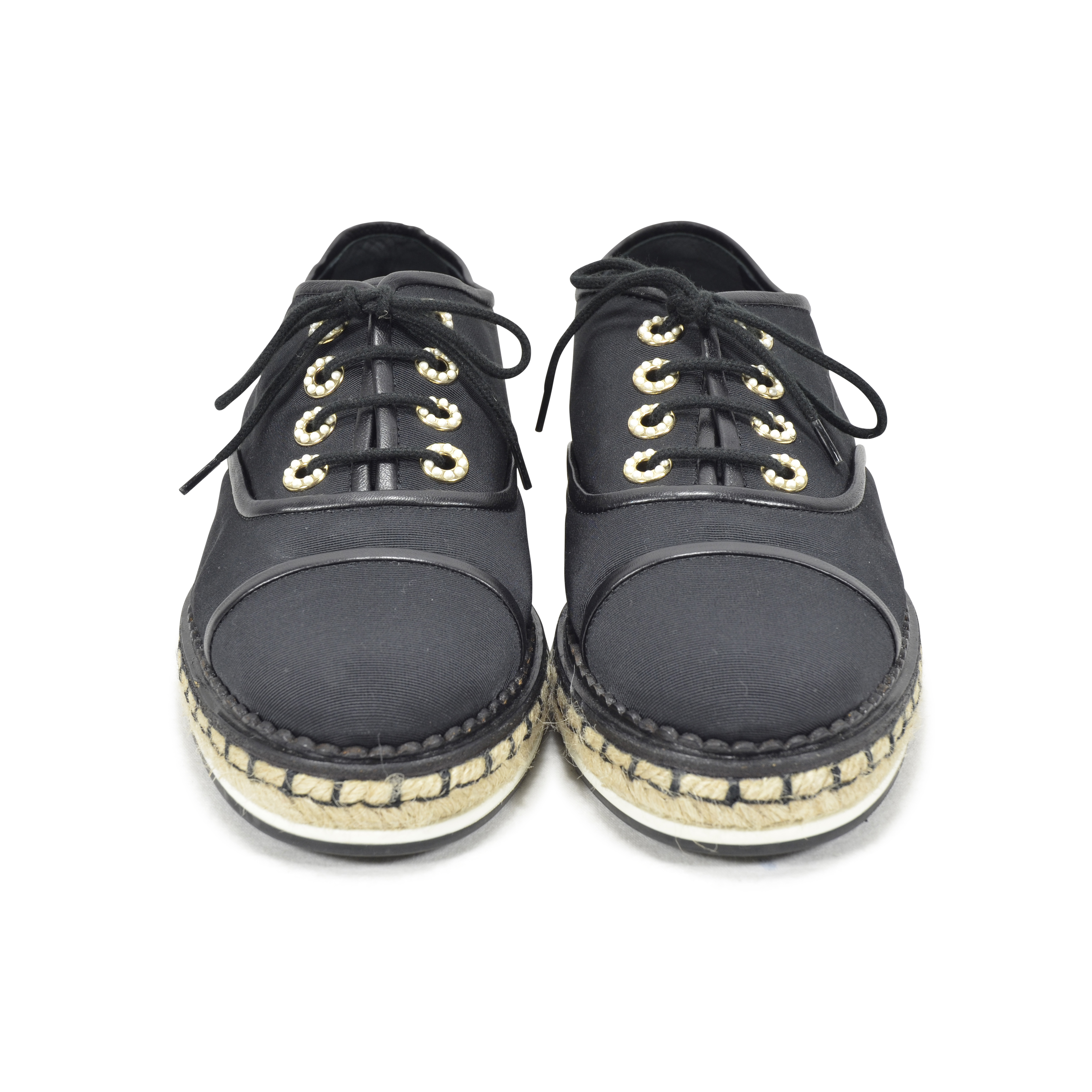 30a620743 Authentic Second Hand Chanel Lace-Up Espadrille Canvas Shoes  (PSS-200-00811) - THE FIFTH COLLECTION