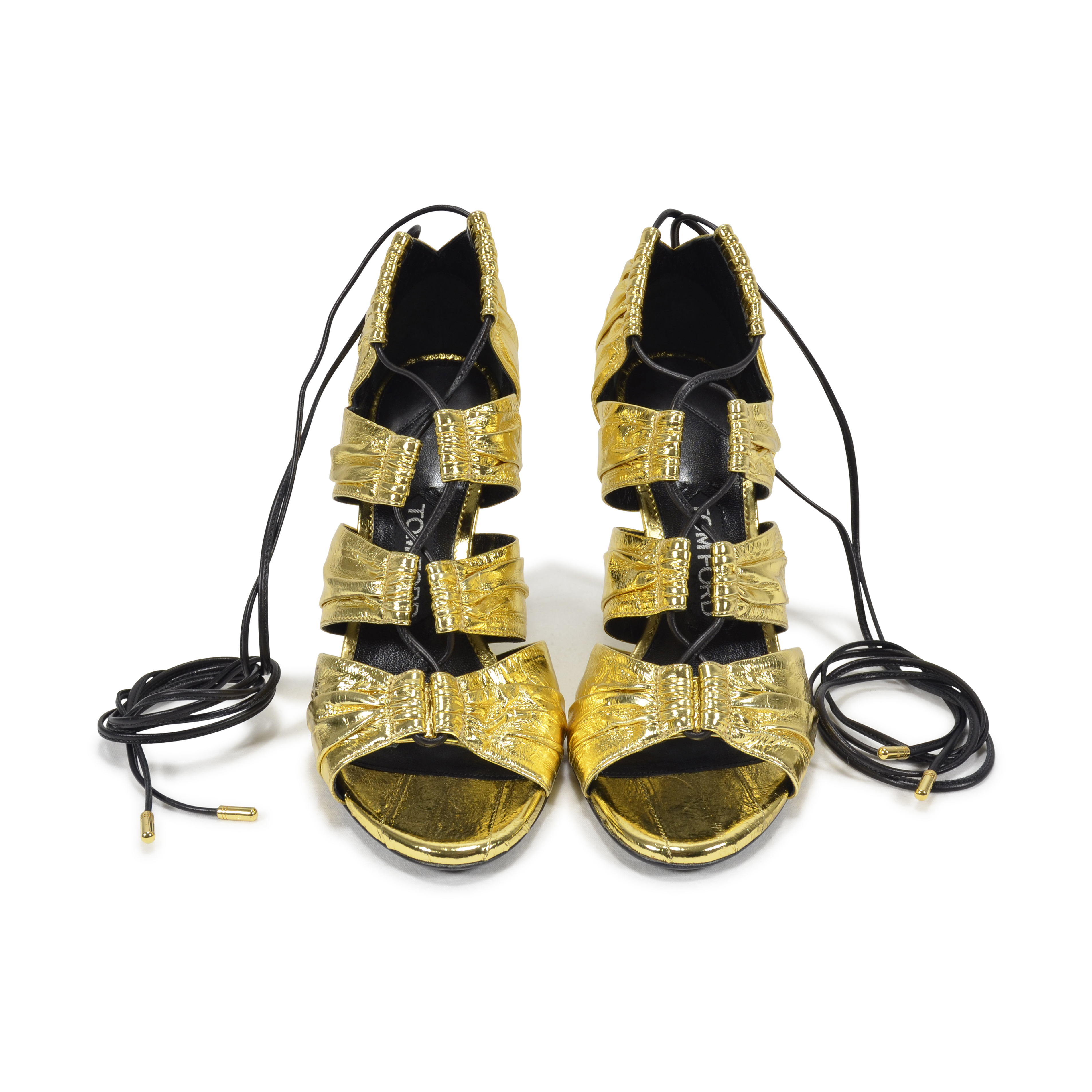 a69656815a0 Authentic Second Hand Tom Ford Metallic Eel Lace-Up Sandals (PSS-200-00806)
