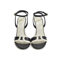 Black and White Wedge Sandals