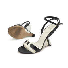 Bally black and white wedge sandals 2?1496807005