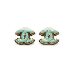 Enamel 'CC' Earrings