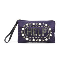 Embroidered Help Clutch