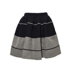 Romantic Striped Wool Skirt