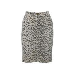 Leapard Print Denim Skirt