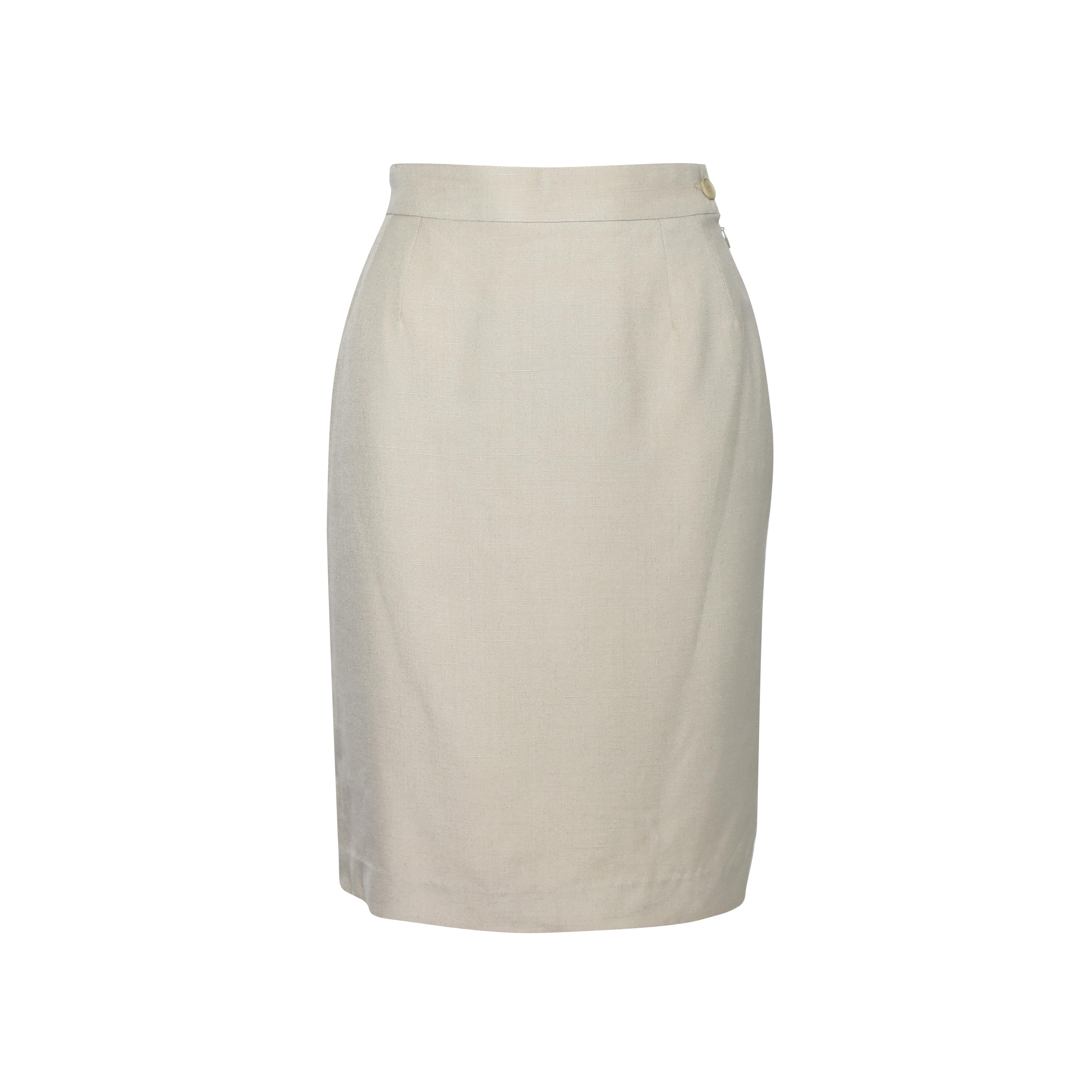 fd0d490b8ce1 Authentic Vintage Yves Saint Laurent Straight Cut Skirt (PSS-336-00017)
