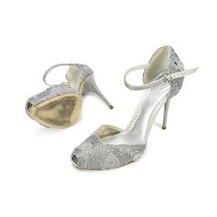 Giorgio armani metallic grey peep toe heels 2?1500358704