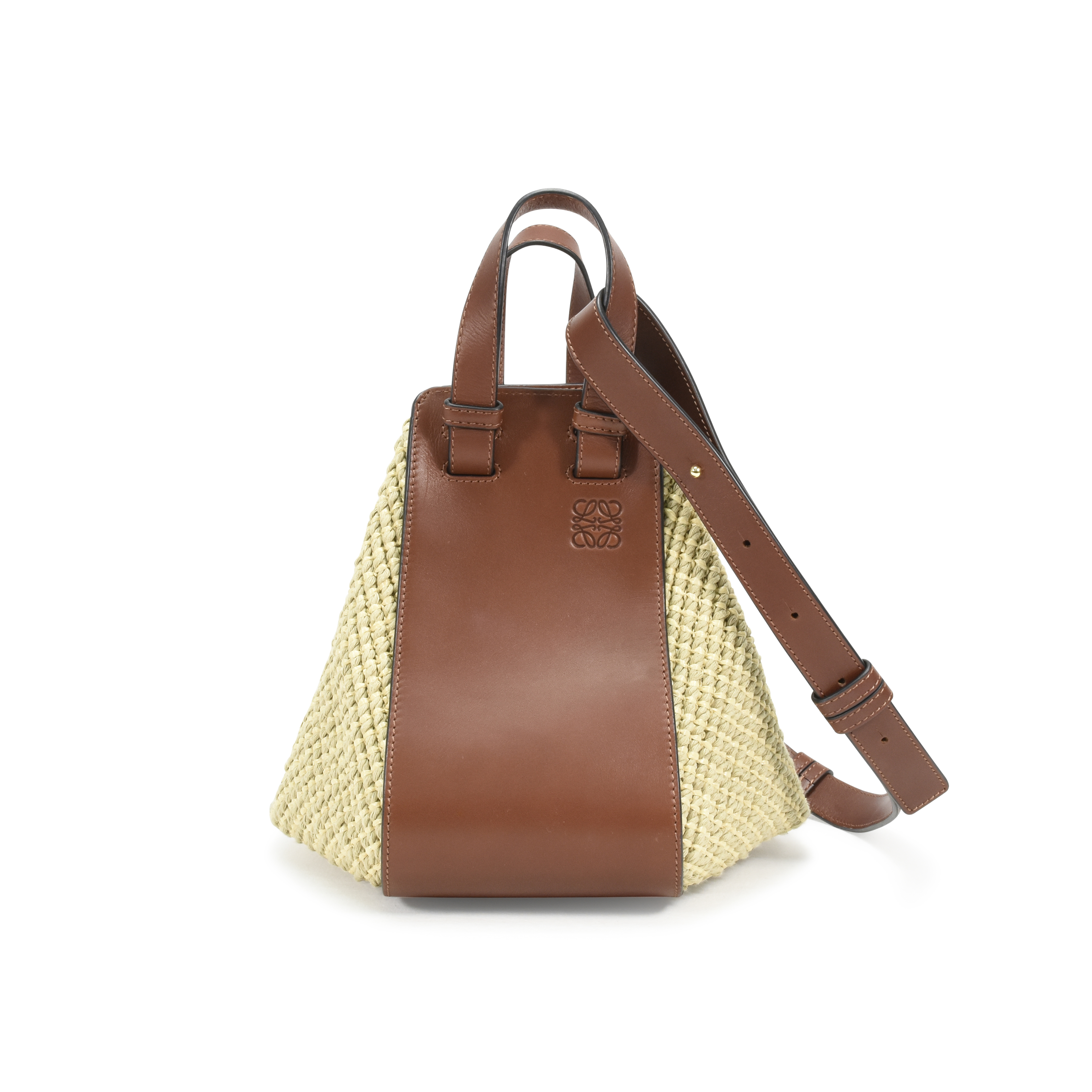 ce291c7004e39e Authentic Second Hand Loewe Hammock Small Leather & Raffia bag  (PSS-139-00021) | THE FIFTH COLLECTION