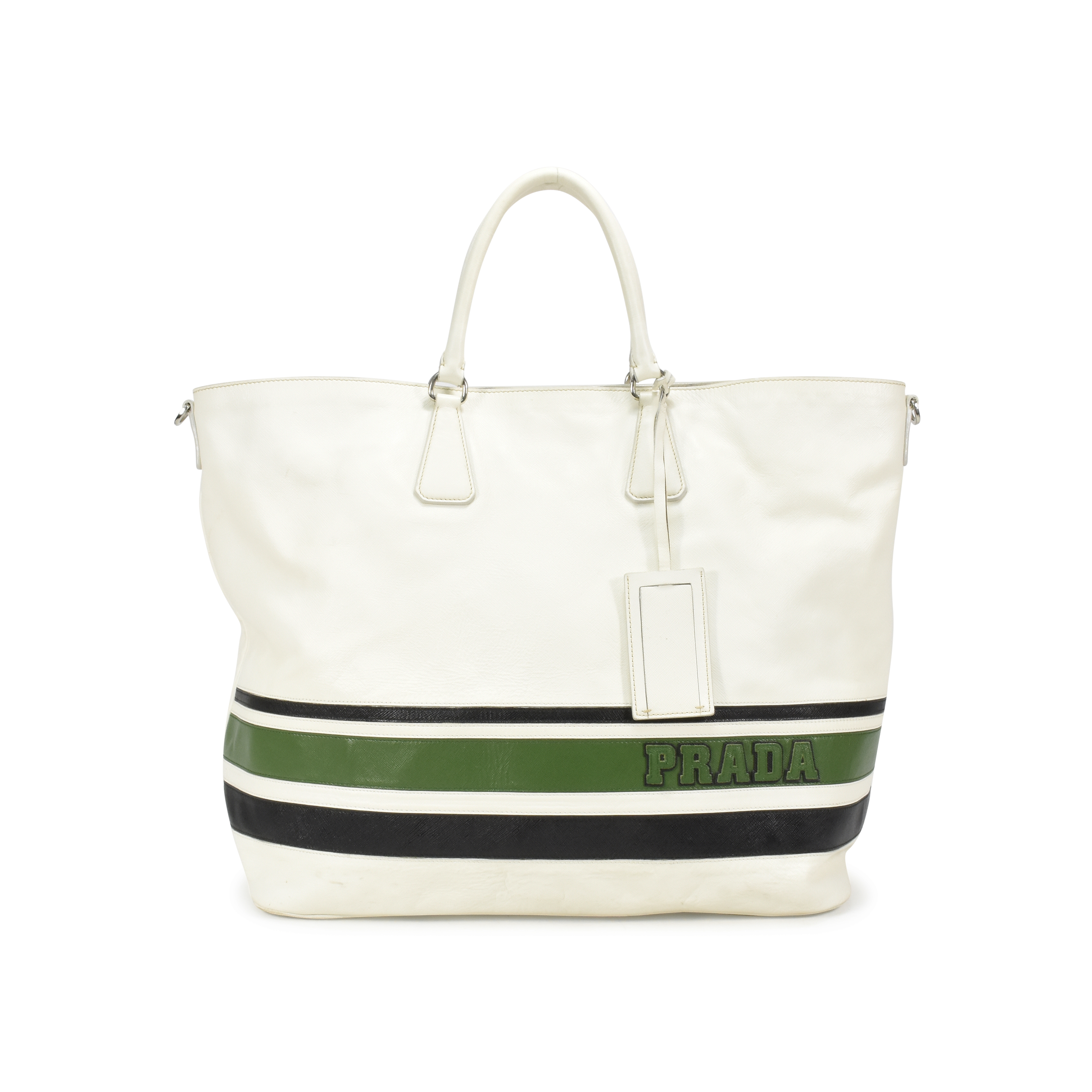 ae84c7bd0495 Authentic Second Hand Prada Striped Large Tote bag (PSS-370-00021) | THE  FIFTH COLLECTION