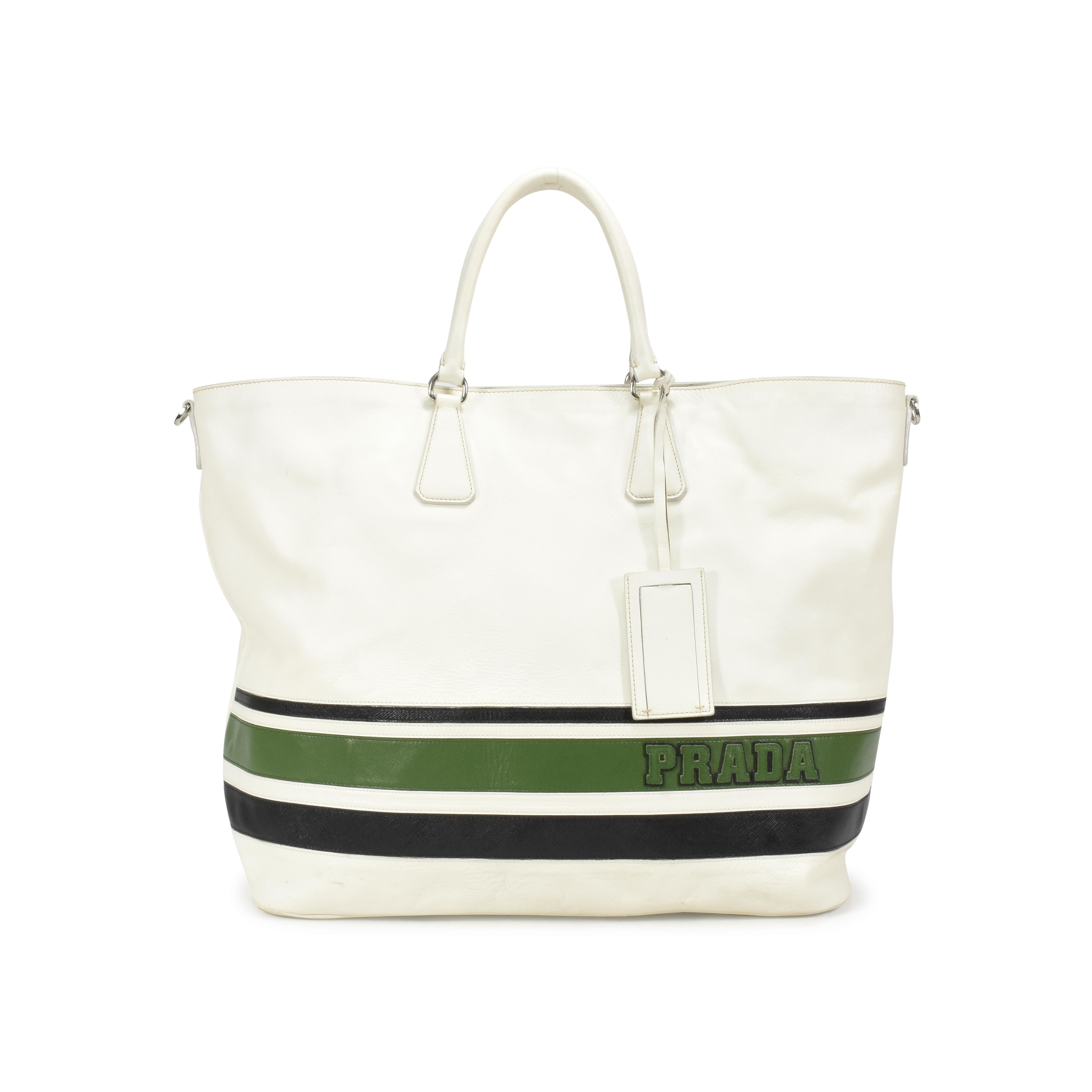 Authentic Second Hand Prada Striped Large Tote bag (PSS-370-00021 ... 9da84a7924265