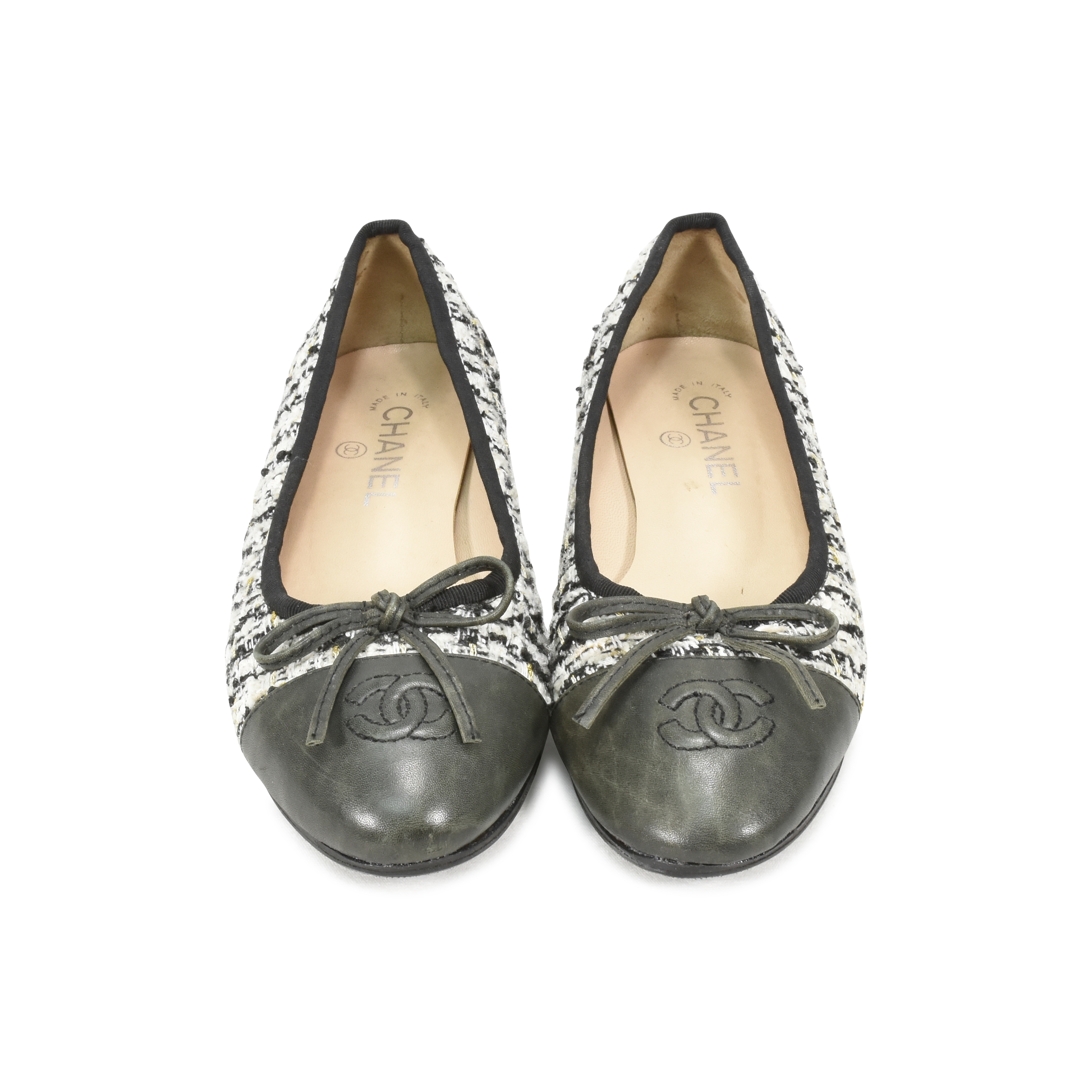 a4e1fa1bb970e Authentic Second Hand Chanel Tweed Ballerina Flats (PSS-370-00005 ...