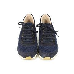 Navy Tweed Sneakers