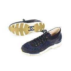 Chanel navy tweed sneakers 2?1503299906
