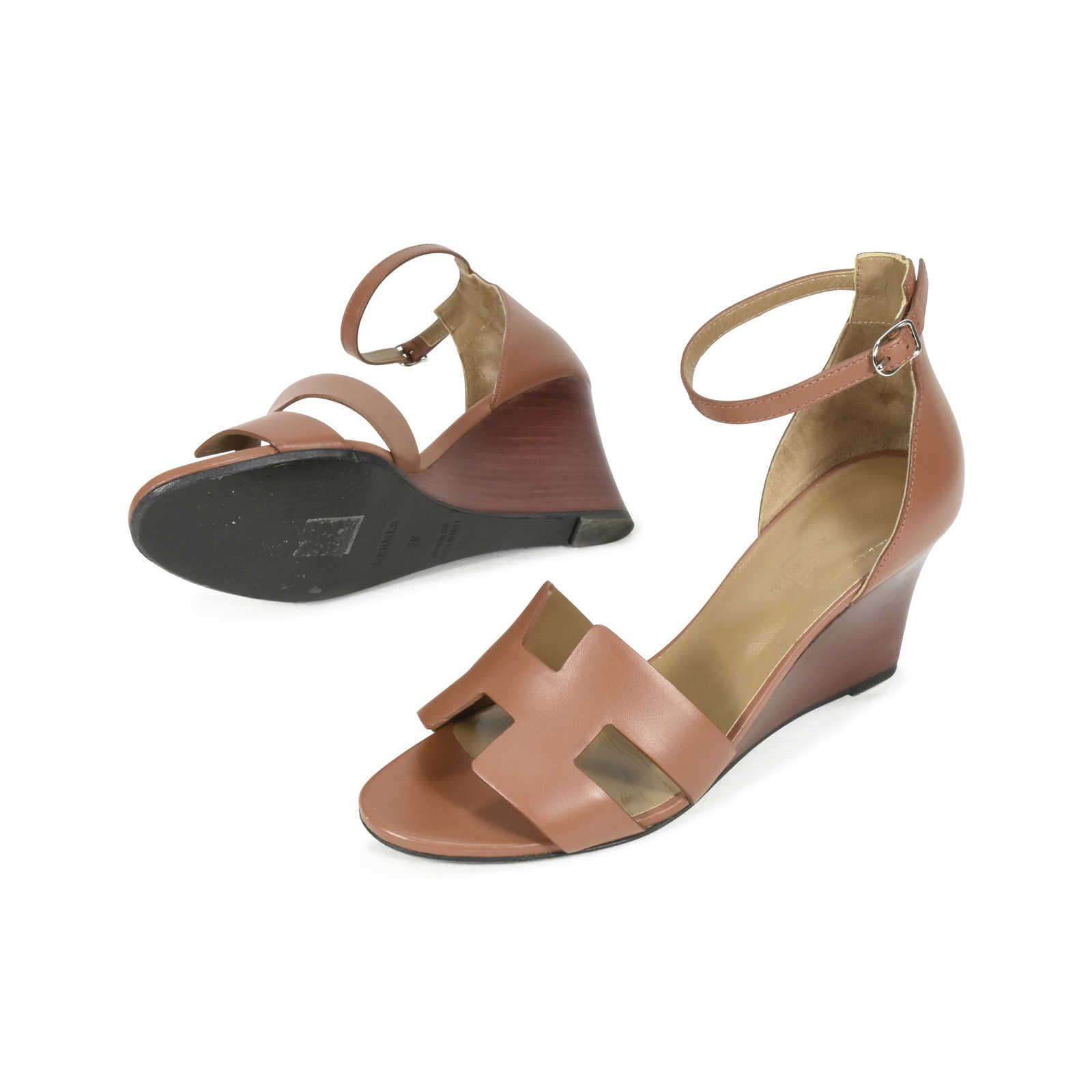 5dbff7ade77c ... Authentic Second Hand Hermès Legend Wedge Sandals (PSS-051-00179) -  Thumbnail ...