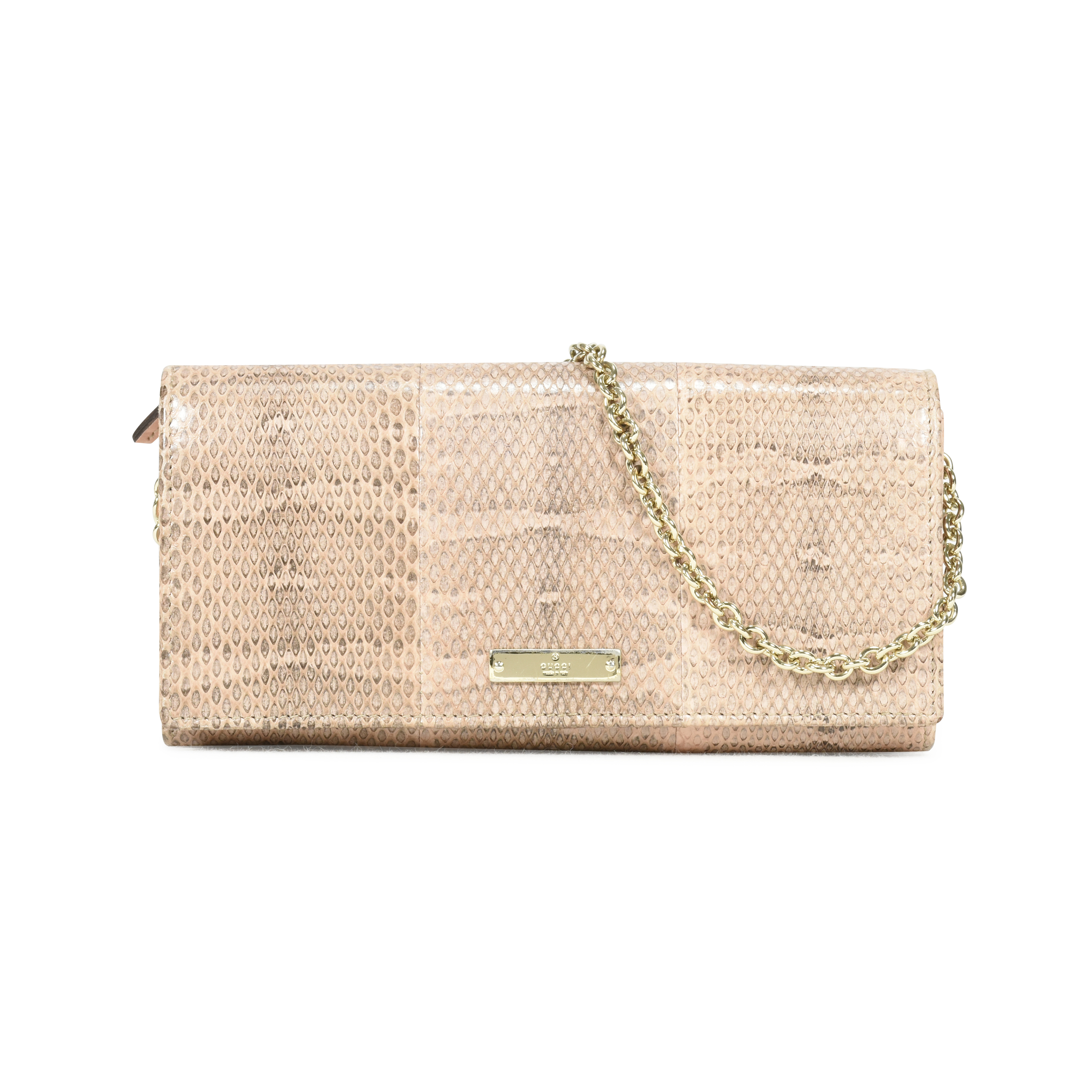 b0aca42f3b4 Authentic Second Hand Gucci Snakeskin Wallet on Chain Clutch  (PSS-139-00028)