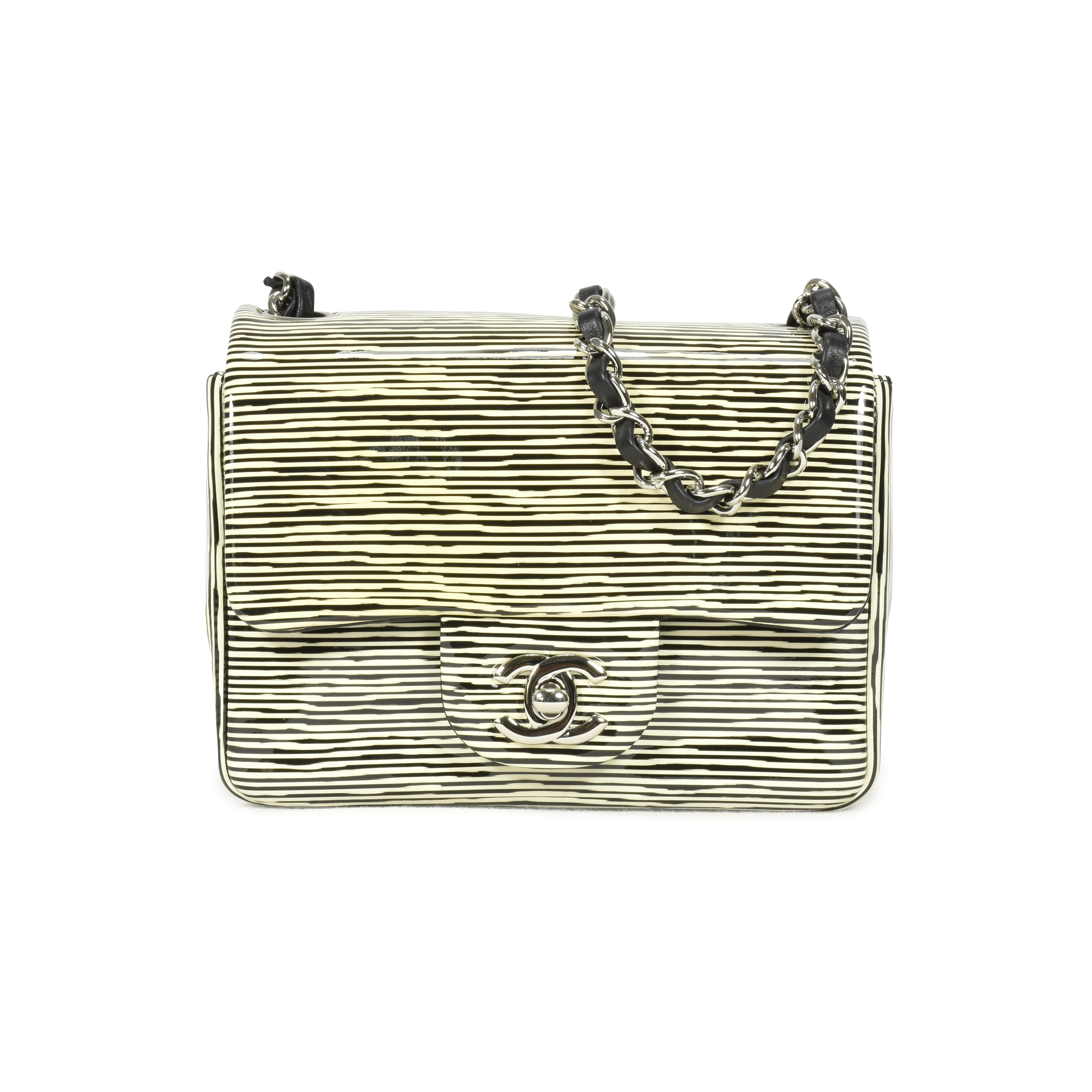 bb592884f297 Authentic Second Hand Chanel Striped Patent Mini Classic Flap Bag  (PSS-139-00030) | THE FIFTH COLLECTION