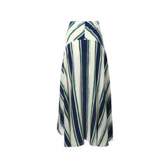 Chloe asymmetric striped silk midi skirt 2?1504003154