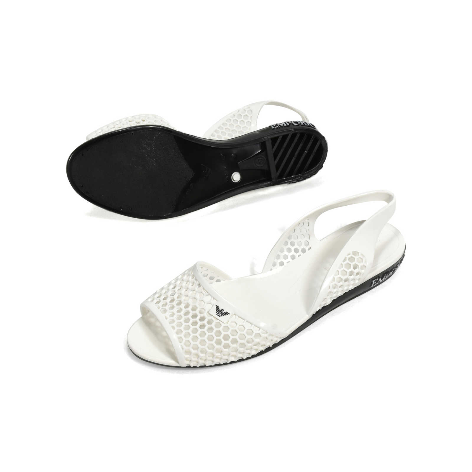 5b3d79ec73f ... Authentic Second Hand Emporio Armani Perforated Jelly Slingbacks  (PSS-369-00040) ...