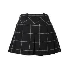 Checked Wool Blend Skirt