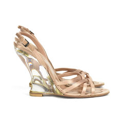Azzedine alaia glass wedge sandals 2?1504587568