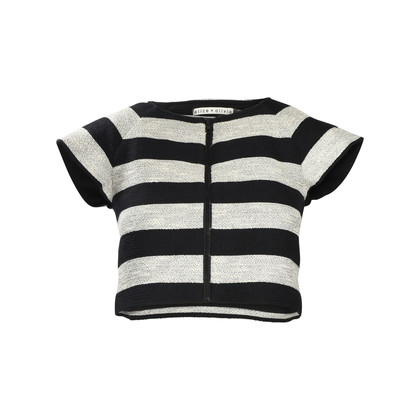Authentic Second Hand Alice + Olivia Striped Zip Front Crop Top (PSS-196-00013)
