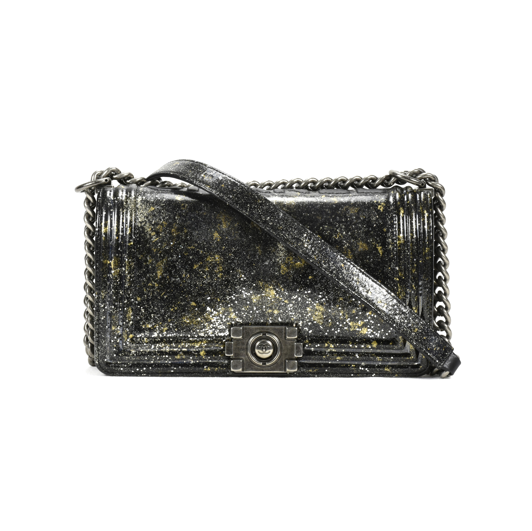 75e89e86fe37 Authentic Second Hand Chanel Old Medium Crystal Glitter Reverso Boy Bag  (PSS-200-00864) | THE FIFTH COLLECTION