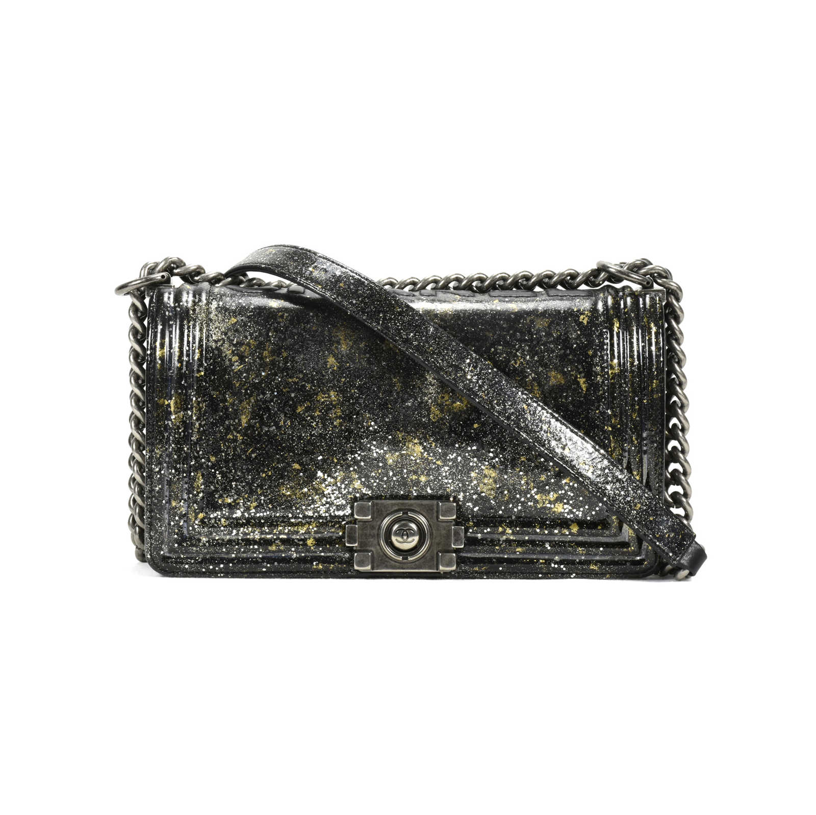 e754feabeb63 Authentic Second Hand Chanel Old Medium Crystal Glitter Reverso Boy Bag  (PSS-200- ...