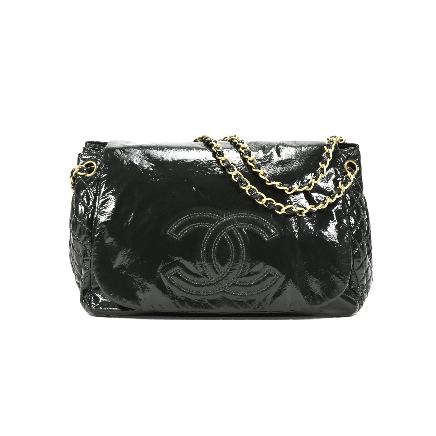 a9385e790002 Authentic Second Hand Chanel Patent Vinyl Rock and Chain Large Flap Bag  (PSS-200-00901)
